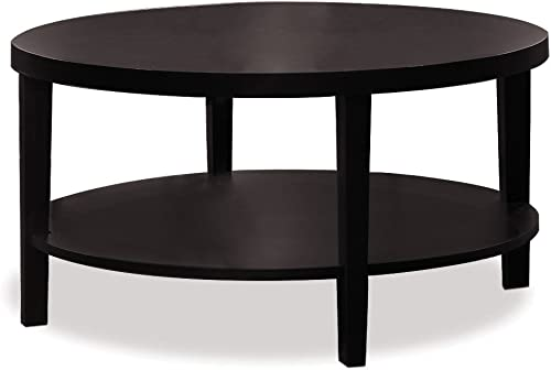 OSP Home Furnishings AVE SIX Merge Round Coffee Table, 36-Inch, Espresso