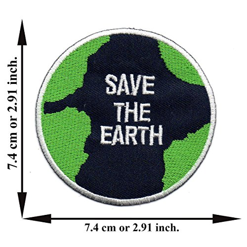 TNK - Save The Earth World Love Planet Map Logo Peace Applique Iron on Patch Sew (Planet Earth Patches)