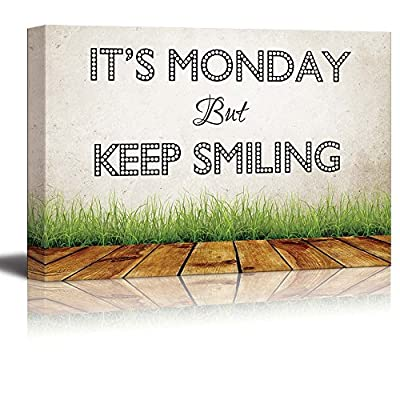 Print Retro Style Humorous Quote It's Monday but Keep Smiling 16