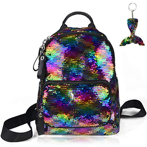 Sequin Backpack Reversible Flip Magic Glittering Shining Rainbow Mermaid School Travel Shoulder Bag with Key Chain Sports Outdoor Beach Gym Dance Bag lightweight Mini Gift for Girls Kids -