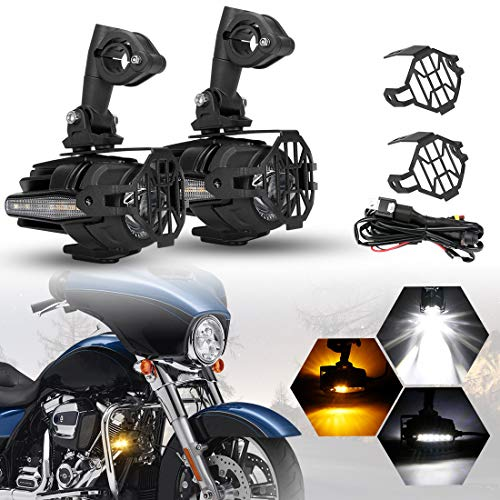 (SUPAREE 2 Pcs 40W LED Auxiliary Lamp 6000K Super Bright Fog Driving Light Kits with Amber Turn Signals For Motorcycle BMW R1200GS F800GS K1600 KTM HONDA Harley Davidson (Lightx2))