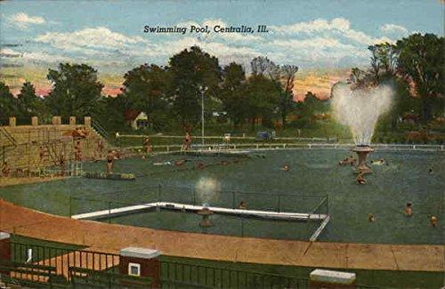 - View of Swimming Pool Centralia, Illinois Original Vintage Postcard