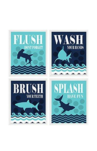 (Shark Bathroom Wall Art, Kids Bathroom, Wash, Flush, Brush, Splash, Navy Blue Turquoise Decor, Shark Bathroom Theme, Shark Art, Boy Bathroom)