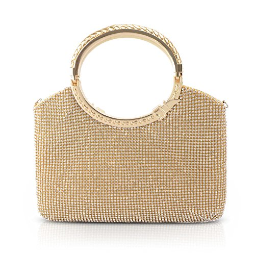 - KISSCHIC Womens Handbag Crystal Rhinestone Evening Clutch Bags Party Wedding Clutch Purses (Gold)
