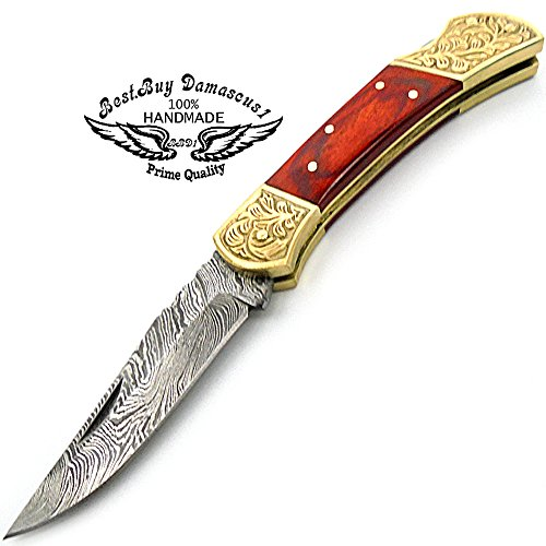 Red Wood Brass Double Bloster Beautiful Screemshw Work 7.6'' Custom Handmade Damascus Steel Back Lock Folding Pocket Knife 100% Prime Quality+ Leather Sheath Case by Best.Buy.Damascus1 (Image #1)