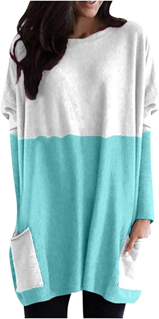 Photno Womens Color Block Pocket Tunic Casual Loose Blouse Plus Size Long Sleeve Round Neck Sweatshirt Tops Pullover