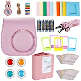 Neewer 9-in-1 Accessories Set for Fujifilm Instax Mini 8 8s 8+ 9, Includes 4-Pack AA Batteries Album, Selfie Lens, Colored Filters, Wall Hang Frames, Film Frames, Border Stickers, Camera Case (Pink)