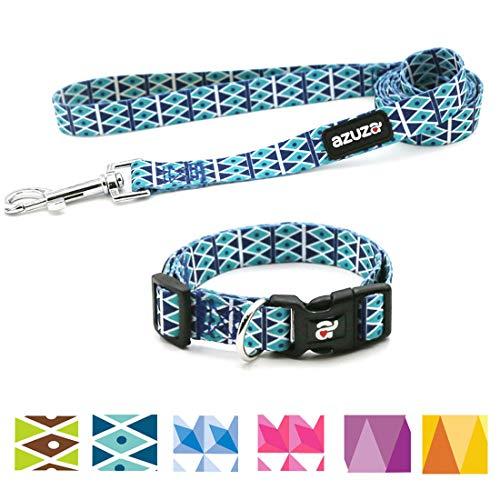 - azuza Dog Collar and Leash Set, Adjustable Nylon Collar with Matching Leash,Blue Diamond,Large