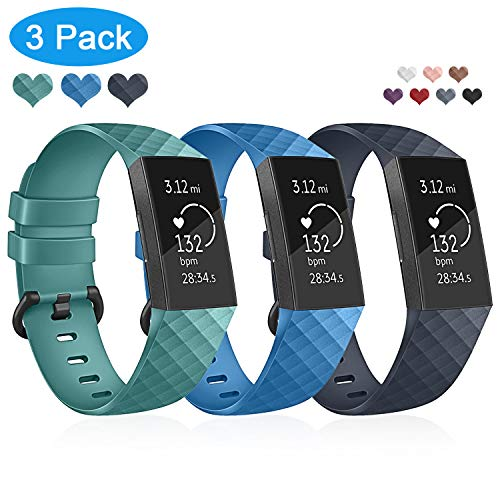 Compatible with Fitbit Charge 3 Bands, Youkex Silicone Replacement Wristband Waterproof Fitness Sport Strap Watch Band for Fitbit Charge 3, Charge 3 SE Women Men Small Tiffany Blue Navy Blue 3 Pack