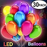 30 Pack Best Premium Quality LED Flashing Light up Balloons, Mixed-Color Party Lights Lasts up to 48 Hours, for All Celebrations, Birthdays, Weddings, Showers Decorations, Filled with Helium Or Air