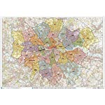 "XYZ Maps Greater London Authority Boroughs with Postcode Districts Wall Map - 47"" x 33.25"" Rolled Canvas"