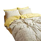 BuLuTu 100% Cotton New Kids Duvet Cover Sets Twin Luxury Neutral Kids Bedding Collections Zipper Closure 4 Corner Ties Home Décor