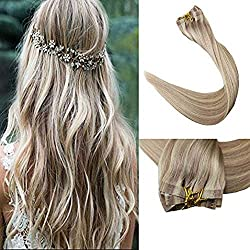 Full Shine 8 Pieces 14 inch 120g Color #18 Ash Blonde and #613 Blonde Clip in Human Hair Extensions PU Tape With Clip Remy Brazilian Hair Extensions Silky Straight 100% Human Hair Extensions