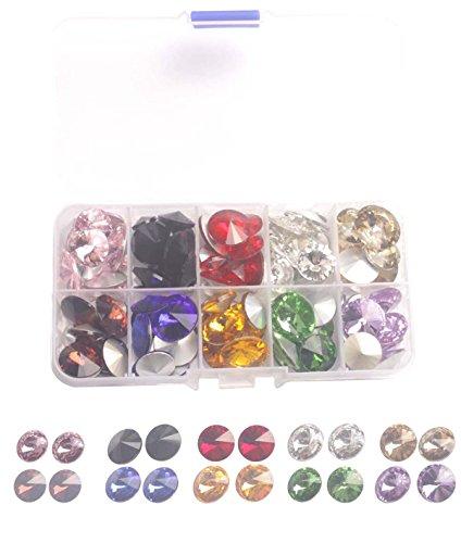 (ChangJin One Box of 120PCS Mixed Colors and Sizes Rhinestone Glass Rivoli Crytsal Stone W/Container)