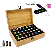 Aromatherapy Essential Oil Wooden Bamboo Storage Box Holds 40 Bottles 5-10-15ML, Fit for Young Living, Pure Body Naturals, doTERRA and others, with Key Chain, Amber Vials, Cap labels, Droppers