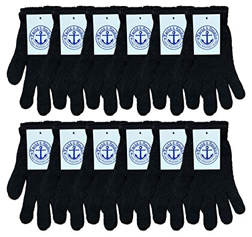 Yacht & Smith Mens Womens, Warm And Stretchy Winter Gloves (12 Pairs Black)