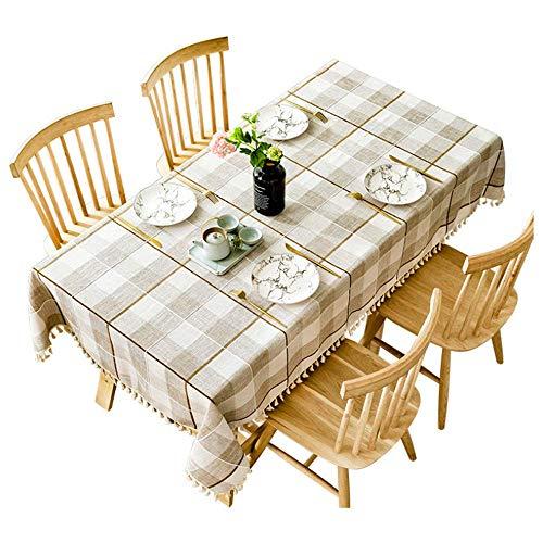 SSHHJ Cotton Linen Tablecloth Embroidered Plaid Rectangular Dining Table Cloth Tassel Hem Tea Table for Christmas Party B 140x180cm