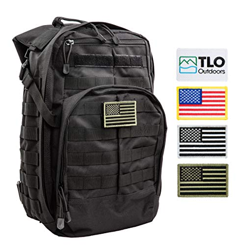 TLO Outdoors Tactical Rush Backpack - TacPack12 24L Storage Backpack [Black] with MOLLE System, Hydration Pocket, Plus Bonus Pack of Four SWAPPABLE Velcro Patches, Including 3 US Flags ()