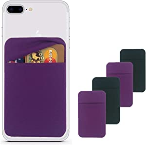 Bontivo 4Pack Stretchy Lycra Fabric Cell Phone Card Holder, Stick on Phone Wallet Pocket, Adhesive Credit Card Holder for iPhone Android and All Smartphones-Black and Purple