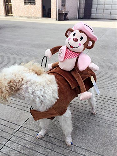 Carlie Funny Cowboy Style Pet Dog Costume Clothes Monkey Rider Bull Hat For Halloween Party (S, (Bull Rider Costume)