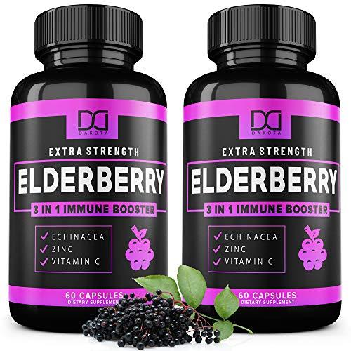 Sambucus Elderberry Capsules with Zinc, Vitamin C and Echinacea Black Elderberries Extract Supplement, Organic…