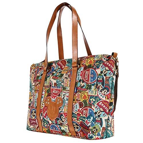 Disney Tote - Disney Vintage Mickey Pattern All Purpose Shoulder Bag Large Shopper Handbag(bag-058-1)