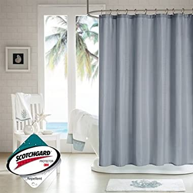 H2Ology H2O70-002 Waffle Weave Shower Curtain with 3M Scotch Gard Finish, 72 x 72 , Grey