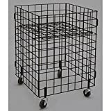 New Retails Black Finished Grid dump bin with casters, 24''x24''x34''high