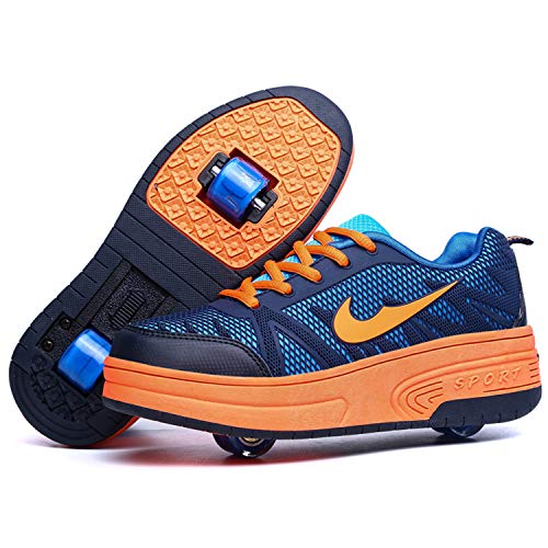 Boys and Girls Roller Skate Shoes with Single/Double Wheels Retractable Skateboarding Rollerblades Outdoor for Kid's…