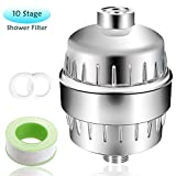 LANIAKEA Shower Filter, Upgrade 10 Stage Filter Cartridge, Remove Chlorine, Flouride, Calcium, Lead and Other Minerals, Softener for Hard Water, Universal Input and Output, Easy Installation, Chrome