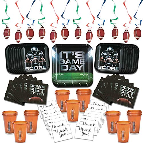 Its Game Day Football Birthday Super Bowl Party Supplies Pack Set for 16 Guests 92 Pcs Bonus Thank You Cards(Cups Plates Napkins Swirls Thank You Cards)