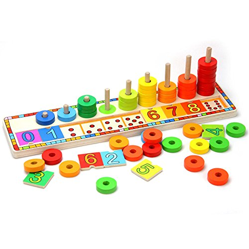 TOP BRIGHT Baby Learning Educational Wooden Arithmetic Toys for 3-36 Months Wooden Toys Baby Educational Toys