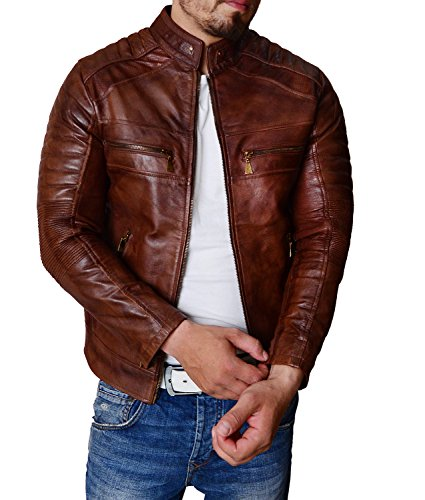 Abbraci Men Vintage Motorcycle Rider Cafe Racer Retro Brown Biker Genuine Leather Gold Dark Distressed Jacket (Wax Brown, Large) (Brown Leather Cafe)
