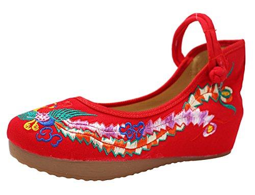 Icegrey Zapatos Bordados Hechos A Mano De Mary Jane De La Cuña De Phoenix De Las Mujeres Rojo