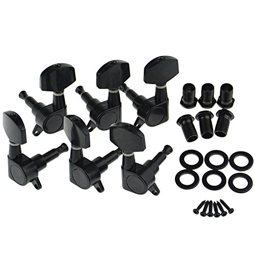 Guitar Tuning Pegs 3R3L Tuning Pegs String Keys Tuners Machine Heads for Strat Tele Electric Black SWHstore Gui-6383