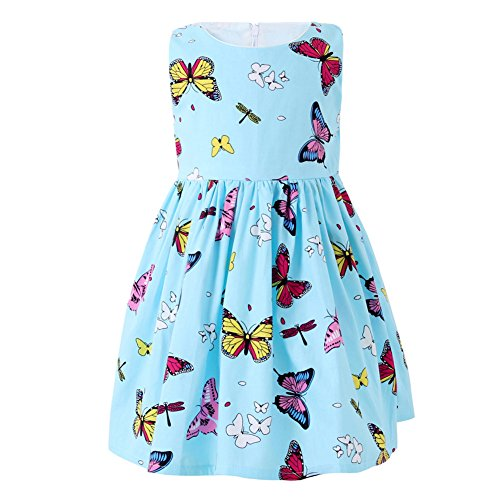 SMILING PINKER Little Girls Dress Butterfly Swing Party Summer Cotton Dresses for Baby Toddler (Blue, 6-7)