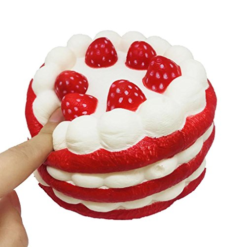 Squishies Slow Rising Toys, YU ER Jumbo Strawberry Cake Squishy Stress Reliever Squeeze Toys, Cream Scented Squishies Gifts for Adults and Kids (red)