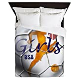 CafePress - USA Girls Soccer - Queen Duvet Cover, Printed Comforter Cover, Unique Bedding, Microfiber