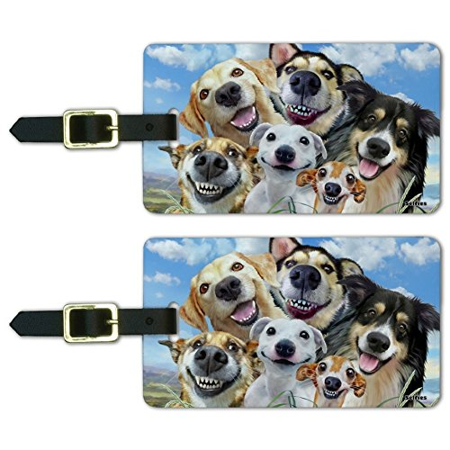 Dogs Smile Selfie Retriever German Shepherd Luggage ID Tags Cards Set of 2