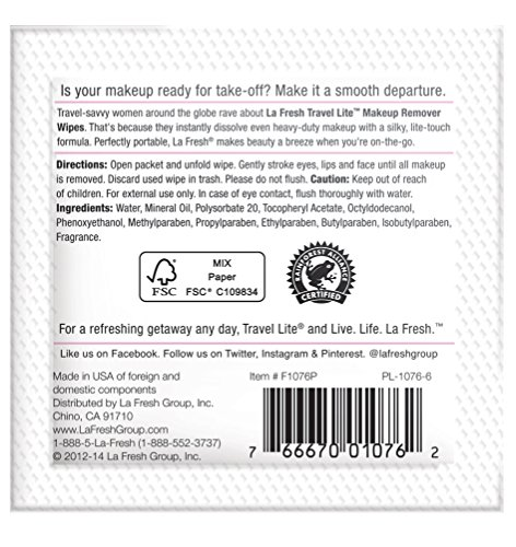 La Fresh Makeup Remover Cleansing Travel Wipes Natural, Biodegradable, Waterproof, Facial Towelettes With Vitamin E Individually Wrapped & Sealed Packets (50 Count) by La Fresh (Image #4)