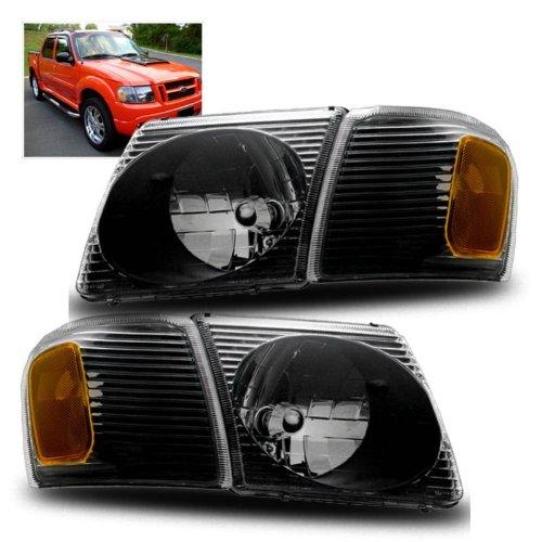 Ford Explorer Sport Headlight (SPPC Sport Trac Crystal Headlights with Corner Black For Ford Explorer -)