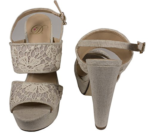 Deilige Kvinner Jiselle Peep Toe Blomster Brodert Slingback Platform Sandal I Beige Lin
