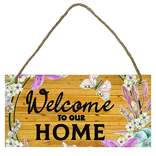 YOLOOY Wooden Hanging Signboard,Welcome to Our Home, Door Garden Wooden Pendant Prints Signs Framed Wall Art Sign for Wall Door Garden Decor.