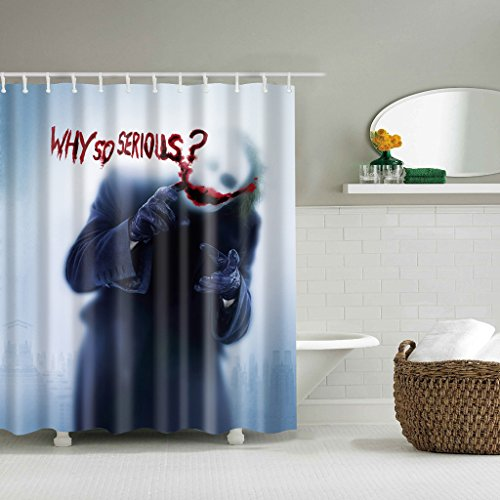 BloomingJS Joker Why So Serious Custom Polyester Waterproof Shower Curtain Hooks 71
