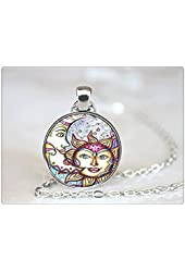 Glasstile Necklace Sun and Moon Necklace Glass Tile Celestial Sun Moon Celestial Necklace