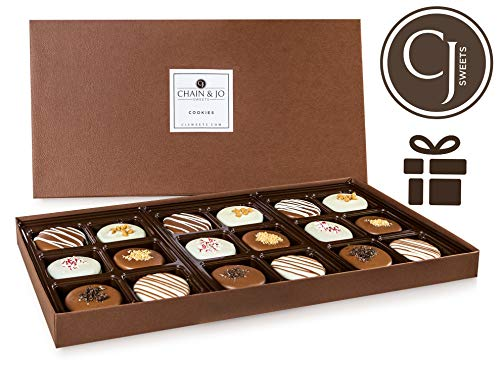 - Chain & Jo Sweets Father's Day Chocolate Covered Cookies, Gift Box Assortment,Dairy Chocolate,6 Toppings,18 Cookies Gift Basket, Fathers Day Gift For Best Dad, Grandfather, Husband, Kosher