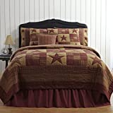VHC Brands Classic Country Primitive Bedding - Ninepatch Star Red Quilt, Luxury King