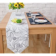 Hmlover Country Rustic Style Cotton Linen Table Runner without Tassel Navy Leaves White Background 1Pcs