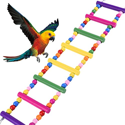 Parrot Wooden Bird Ladder Cage - HapaUS Pet Toys for Parakeets Cockatiels, Conures, Macaws, Parrots, Love Birds, Finches by Hapa