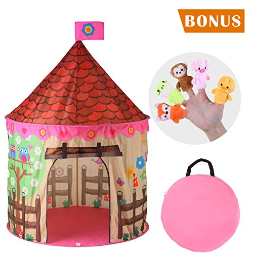 Red Play Tent - Sliverfox Kids Play House Princess Castle Tent Kids Pop Up Tent for Boys & Girls with 2pcs Finger Puppets